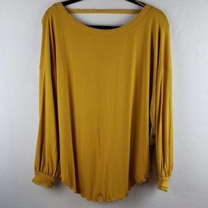 FREE PEOPLE Untamed Gold Ribbed Pullover Size XS